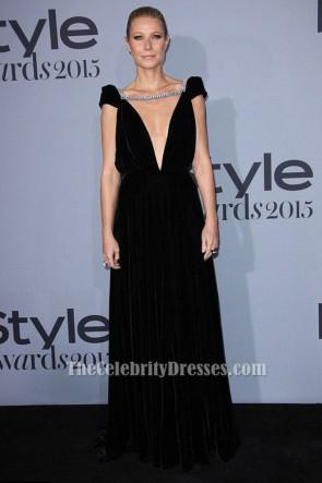 Gwyneth Paltrowブラックバックレスイブニングドレス2015インスタイル賞