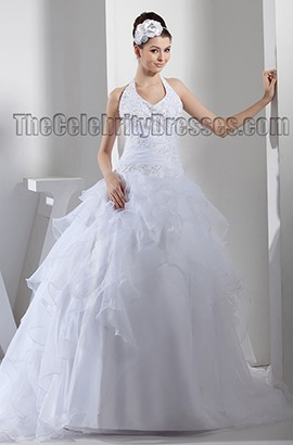 Halter Ball Gown Embroidered Chapel Train Wedding Dresses