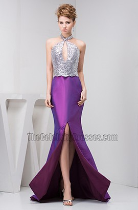 Halter Silver And Purple Mermaid Formal Prom Dresses
