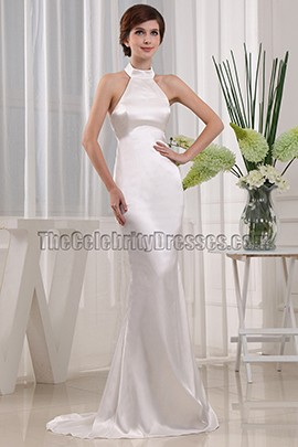 Simple Mermaid Halter Wedding Dress Bridal Gown