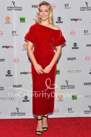 ヘレンヨークレッドベルベットフォーマルドレス第45回インターナショナルエミー賞