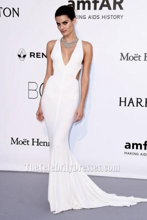 Isabeli Fontana AmfARの第23回映画(AIDS Gala 2016ホワイトイブニングドレス)