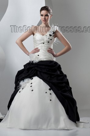 Ivory And Black One Shoulder A-Line Wedding Dresses