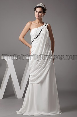Ivory One Shoulder Chiffon Wedding Dress Formal Gown