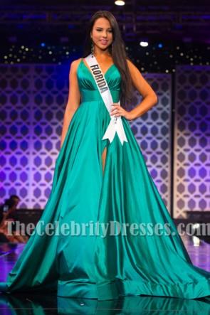 Jara Coursonセクシーな背中の開いたAラインページェントドレスミスフロリダティーンUSA 2015