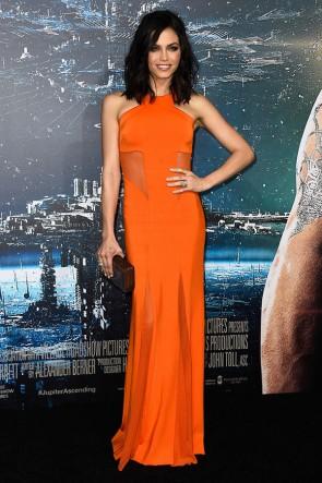 Jenna Dewan ジェナ・デワン オレンジ色のイブニングドレスプレミアのワーナーブラザーズの写真