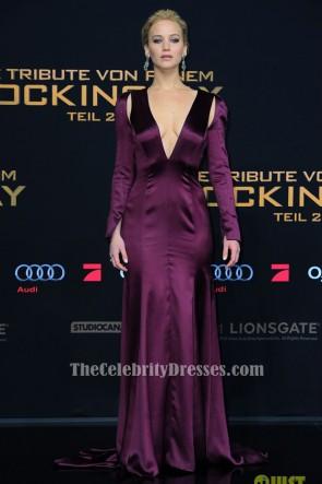Jennifer Lawrence ジェニファーローレンス パープルイブニングドレス 'The Hunger Games' World Premiere
