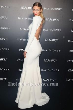Karlie Klossホワイトクルーネックロングスリーブバックレスイブニングフォーマルドレス