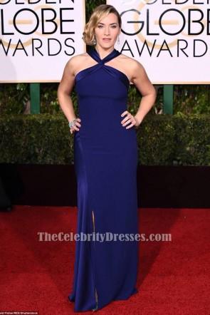 Kate Winslet ケイト・ウィンスレット ロイヤルブルーのフォーマルドレス第73回ゴールデングローブ賞2016レッドカーペットドレス