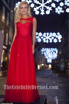 Katherine Jenkins Red Prom Dress Evening Formal Dresses