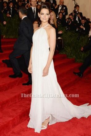 ケイティホームズセクシーな白いホルターネックのイブニングドレス2013会ったガラレッドカーペット