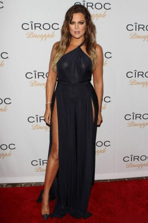 Khloé Kardashian Dark Navy Evening Dress Celebrate French Montana's Birthday