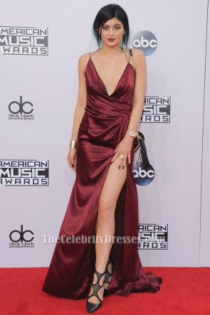 Kylie Jenner Burgundy Evening Dress American Music Awards 2014 Red Carpet