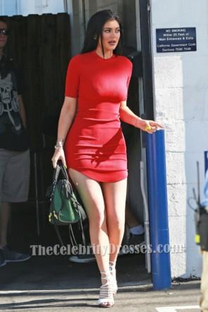 Kylie Jenner カイリー・ジェンナー ショートミニレッドパーティードレスホームカミングドレス