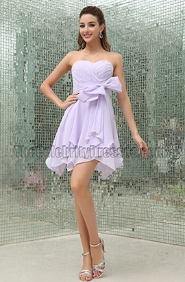 Lilac Chiffon Short Bridesmaid Cocktail Party Dresses