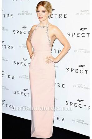 Lea Seydouxホルター背中の開いたビーズのイブニングドレスSpectre Paris Premiere