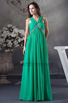 Long Hunter A-Line Chiffon Bridesmaid Prom Dress With Beadwork