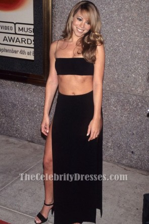マライアキャリーブラックツーピースのイブニングドレス1997年MTVビデオミュージックアワード