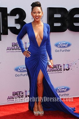 Meagan Good Sexy Royal Blue Prom Dress Bet Awards 2013 Red Carpet