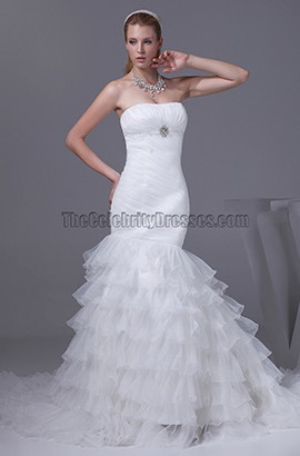 Trumpet /Mermaid Strapless Tiered Lace Up Wedding Dresses