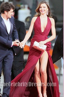 Miranda Kerr Burgundy Prom Dress Golden Globes 2013 Red Carpet