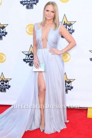 Miranda Lambert ミランダランバート セクシーなシルバーのイブニングドレスACM 2015レッドカーペットドレス