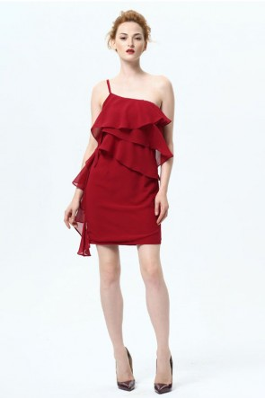Short Mini One Shoulder Chiffon Party Dresses TCDMU0024