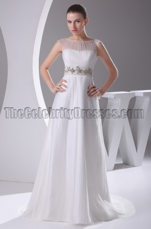 Beaded Sleeveless A-Line Bridal Gown Wedding Dresses