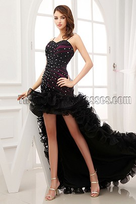 Sexy Black Beaded Strapless Formal Dress Evening Prom Gown