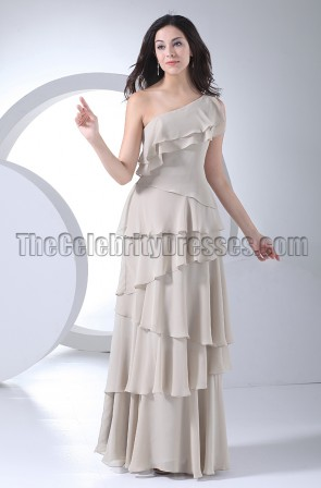 Elegant Silver One Shoulder Evening Dresses Prom Gown