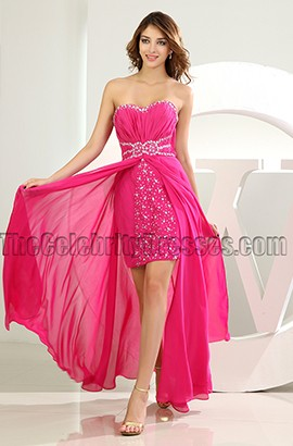 Fuchsia Beaded Strapless High Low Prom Dress Party Dresses