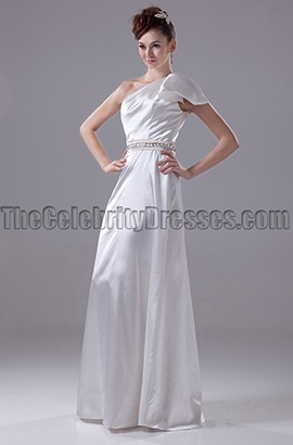 Floor Length One Shoulder Wedding Dress Bridal Gown