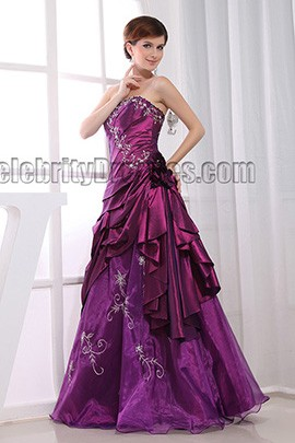 A-Line Purple Strapless Formal Dress Evening Gown