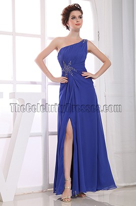 Discount Royal Blue One Shoulder Prom Dresses Evening Gowns