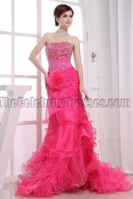 New Style Strapless Fuchsia Prom Dress Evening Formal Dresses