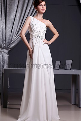 White One Shoulder Beaded Prom Dress Evening Dresses