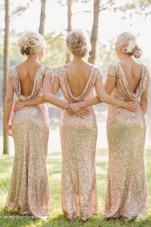 Open Back Sparkly and Glittery Rose Gold Bridesmaid Dresses Evening Gown TCDB5000