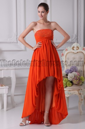 Orange Red Strapless High Low Prom Gown Evening Dresses