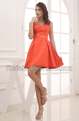 Chic Orange Short Cut Out Cocktail Graduation Party Dress
