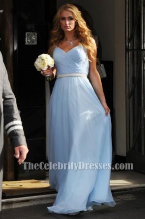 Paris Hilton パリスヒルトン ニッキーの結婚式のスカイブルーのイブニングウエディングドレス