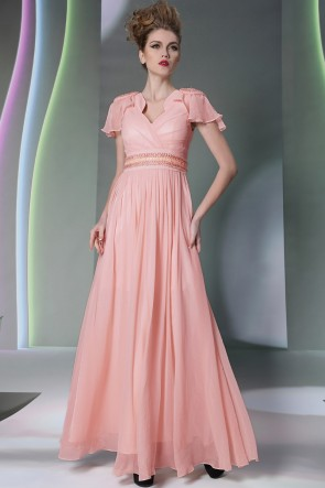Pearl Pink Cap Sleeves Cut Out Beaded Formal Evening Dresses