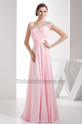 Pink Chiffon One Shoulder Bridesmaid Dresses Prom Gown