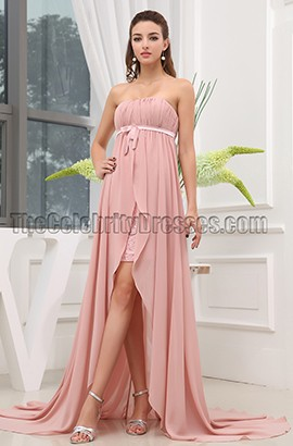 High Low Pink Chiffon Strapless Prom Dress Evening Gowns