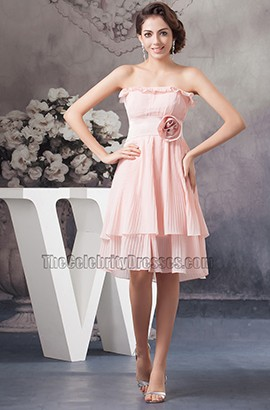 Pink Strapless Knee Length Cocktail Bridesmaid Dresses