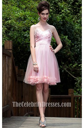 Cute Pink Tulle Spaghetti Straps Party Cocktail Dresses 82675