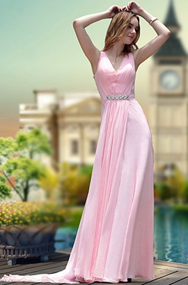 Pink V-Neck Chiffon Beaded Prom Gown Evening Formal Dress