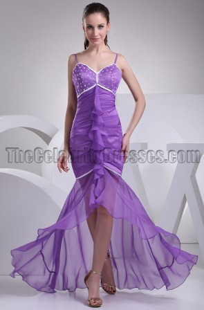 Purple Organza Mermaid Formal Evening Dresses