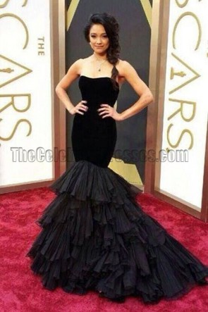 Rachel Smith Black Mermaid Formal Dress 2014 OSCARS Red Carpet