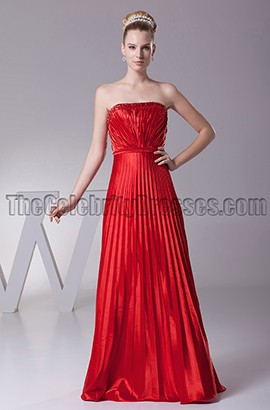 Floor Length Red Strapless Bridesmaid Prom Evening Dresses