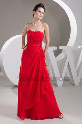Discount Red Chiffon Full Length Evening Gown Prom Dress